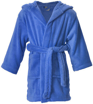 Boy's Girl's Kids Solid Plush Hooded Bath Shower Pool Robe Hoodie Cover Up