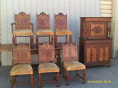 "59026   Antique Oak Dining Room Set China Table with 6 Chair s  Table  88"" x 38"""
