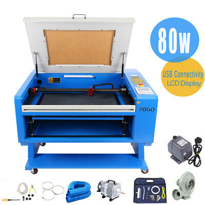 80W CO2 Laser USB Engraving Cutting Machine + CW-5000 Water Chiller Rotary Axis