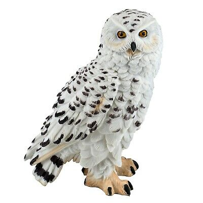"""White Snowy Owl Standing Figurine Statue 5"""" High Detailed Resin New In Box!"""