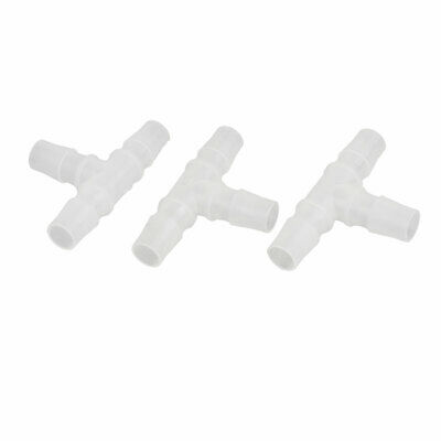 3 Pcs 15.8mm Dia T Type Hose Joiner Barbed Flexiable Pipe Fitting White for Pond