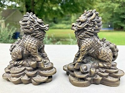 Pair Antique or Vintage Ornate Chinese BRONZE FOO DOGS Statue Sculpture
