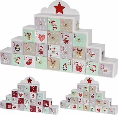 Christmas Festive Wooden Advent Calendar With Drawers - Design Varies