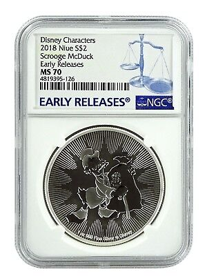 2018 Niue 1oz Silver Scrooge McDuck  NGC MS70 Early Releases