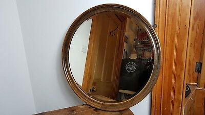 VICTORIAN 1880's ROUND CIRCULAR BEVELLED GLASS WALL MIRROR WOOD FRAME UK MADE