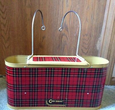 Gotham Car-Snac Vintage 1950's Red Plaid Metal Over the Seat Picnic Basket
