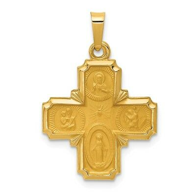 14K Yellow Gold Polished & Satin Finish Four Way Cross Medal Religious Pendant