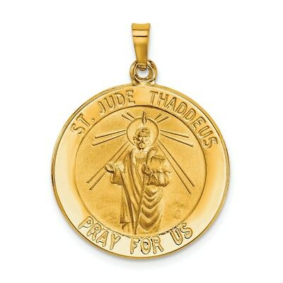 14K Yellow Gold Polished St. Jude Thaddeus Pray For Us Religious Medal Pendant