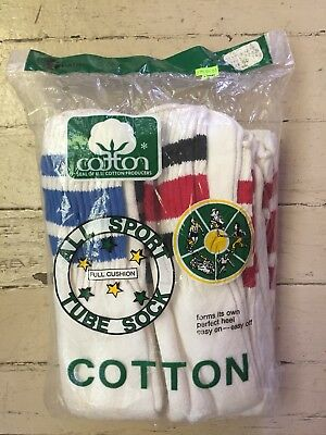 Vtg NOS ALL SPORT Cotton TUBE SOCKS 6 Pair Sz 10-14 Made In USA New