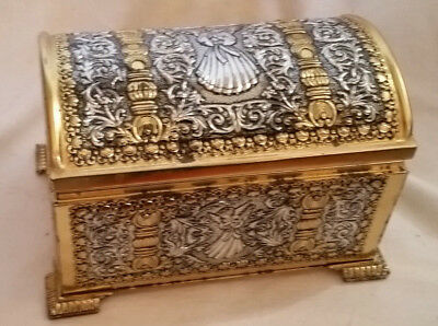 """Vintage Embossed Metal CHEST made in West Germany, Ltwght Brass/Silver 6.5""""x4x4"""""""