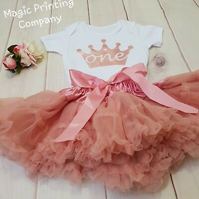 1st Birthday Outfit Baby Girls Frilly Tutu Dress Skirt Cake Smash rose gold UK