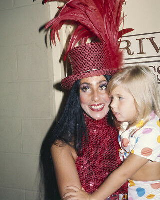 Cher In Red Sequined Outfit And Hat With Daughter Chastity 1970 8X10 Photo