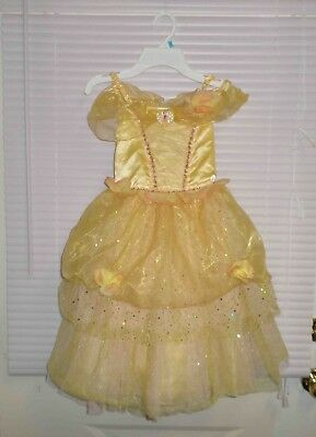 Disney Store Princess Belle Deluxe Costume Dress Up Gown Size 7-8 Pink Rosettes