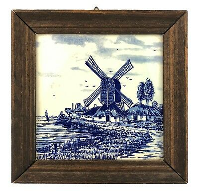 Vtg 1984 Hand Painted Framed Holland Delft Ceramic Tile Seaside Dutch Windmill