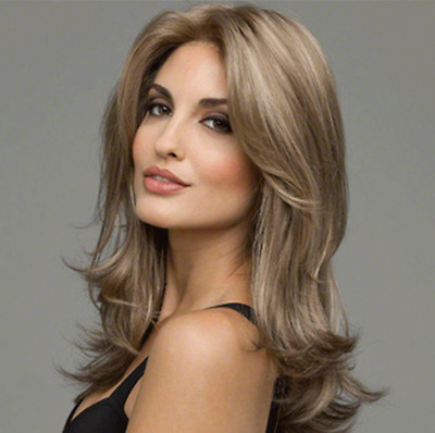 Sexy Women Fashion Centre Parting Long Big Curly Full Wave Light Brown Hair Wig