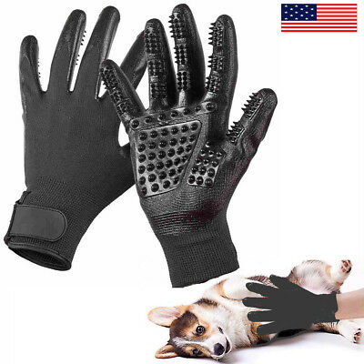 US 1PC Pet Dog Cat Grooming Hair Removal Bath Shedding Gloves Massage Brush Comb