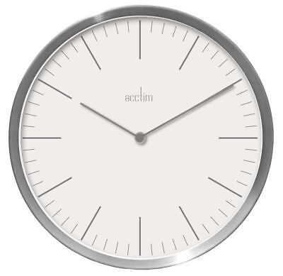 Carrie Design Brushed Silver Effect Wall Clock White Dial 25cm by Acctim