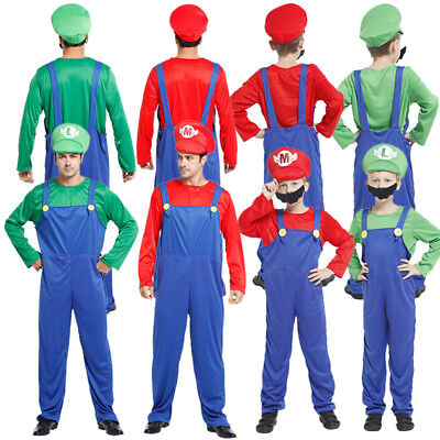 Super Mario & Luigi Bros Plumber Cosplay Costume Family Fancy Party Outfits UK