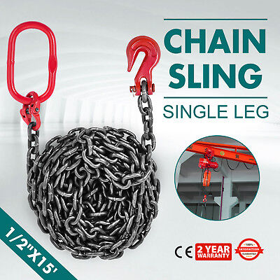 "1/2"" x15' GRADE 80 Chain Sling SOG Machinery Corrosion Resistance Single Leg"