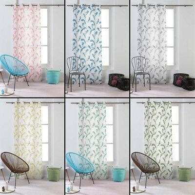 Kineo Floral Eyelet Voile Curtain Panel 240cm Long Drop - Assorted Colours