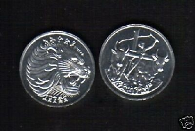 Ethiopia 1 Cent Km43 Lion Man Ox Plowing Unc Animal Currency Money Coin