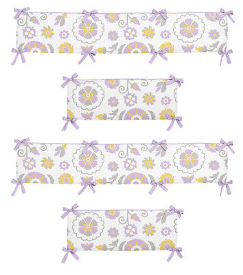 Modern Purple Gray Yellow & White Flower Baby Girl 4 Piece Crib Bumper Pad