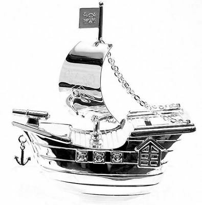 Christening Gifts. Silverplated Pirate Ship Money Box - Boys Baby / Babies Gift