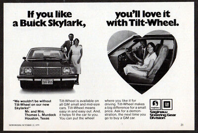 1979 BUICK Skylark Vintage Original SMALL Print AD - Tilt-Wheel Saginaw GM US