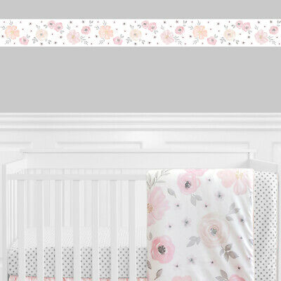 Jojo Pink Grey Watercolor Floral Shabby Chic Wall Paper Border Room Wallcovering