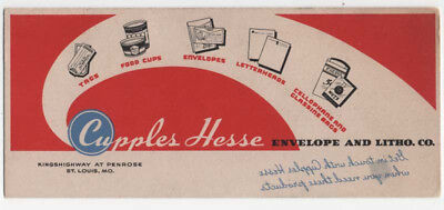 St. Louis, Missouri, CUPPLES HESSE Envelope and Litho. Co. Advertising Blotter