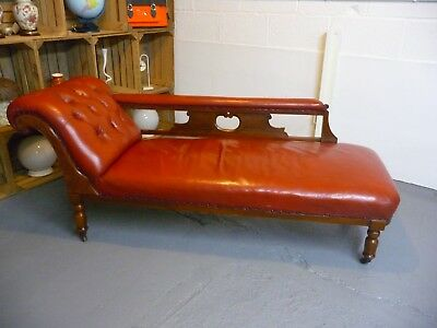 Antique Victorian Mahogany Chaise Longue In Red Leather Sofa Daybed