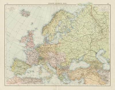 Europe (General map). Political. THE TIMES 1900 old antique plan chart