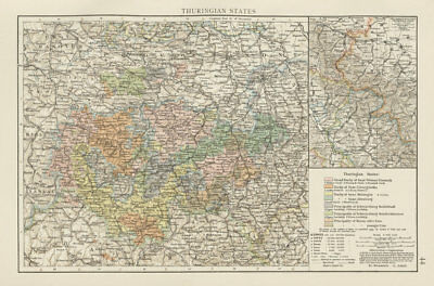 Thuringian States. THE TIMES 1900 old antique vintage map plan chart