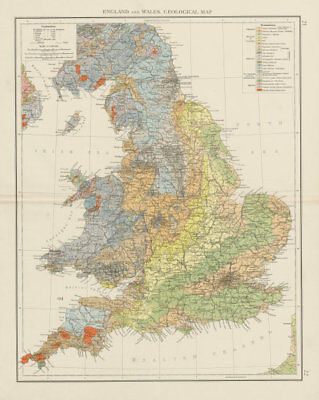 England and Wales, geological map. THE TIMES 1900 old antique plan chart