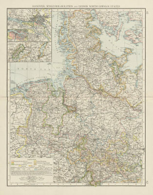 Northern Germany. Schleswig-Holstein. Hamburg. Lower Saxony. THE TIMES 1900 map