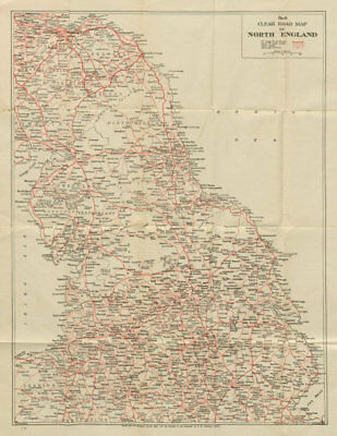 No.4 Clear Road Map of Northern England. GEOGRAPHIA c1935 old vintage