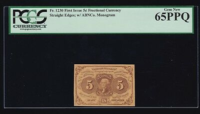 US 5c Fractional Currency Pair 1st Issue w/ABC FR 1230 PCGS 65 PPQ GEM CU (001)