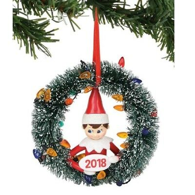 Department 56 Elf on the Shelf Dated 2018 Wreath Ornament 6000481