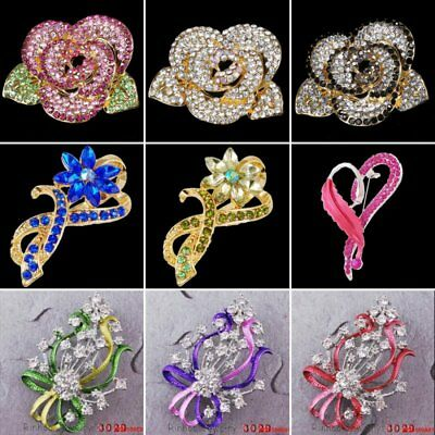 Fashion Heart Feather Crystal Flower Women Breastpin Brooch Pin Jewelry Holiday