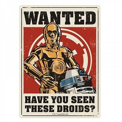 Blechschild Star Wars Wanted in 15x20 cm Metallschild C-3PO und R2-D2