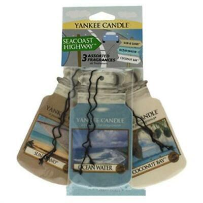 Yankee Candle Seacoast Highway 3 Pk Car Jar 2D Cardboard Air Fresheners FREE P&P