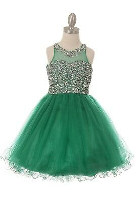 Green Flower Girls Sequins Dress Wedding Pageant Christmas Holidays Party 8501