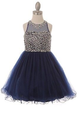 Navy Blue Flower Girl Sequin Dress Wedding Pageant Christmas Holidays Party 8501