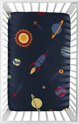 Navy Blue Baby Fitted Mini Portable Crib Sheet for Outer Space Galaxy Bedding
