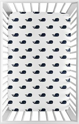 Navy Blue and White Baby Fitted Mini Portable Crib Sheet for Jojo Whale Bedding