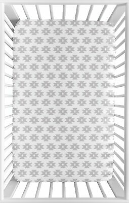 Grey White Tribal Geometric Baby Girl Feather Fitted Mini Portable Crib Sheet