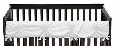 Sweet Jojo Solid Color White Harper Shabby Chic Baby Long Front Crib Rail Guard