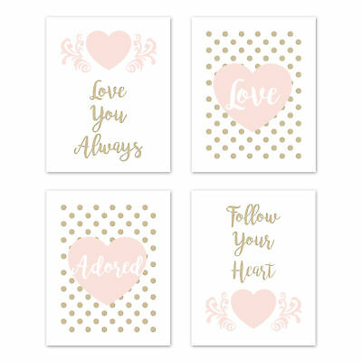 Blush Pink Gold Amelia Polka Dot Heart 4p Nursery Wall Art Prints Room Decor