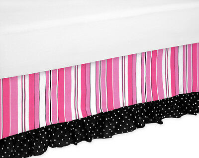 Sweet Jojo Designs Pink Black Madison Girl Kid Queen Size Bedding Set Bed Skirt
