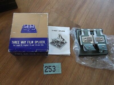 vintage three way film splicer machine boxed super 8 / 16 mm